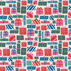Pink Green Christmas presents cotton Fabrics design