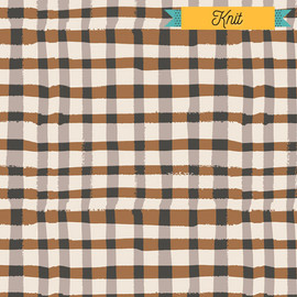 Brown black plaid KNIT fabrics design