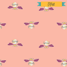 Coral bumble bee KNIT fabrics design