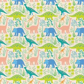 Cream Dinosaur cotton fabrics design