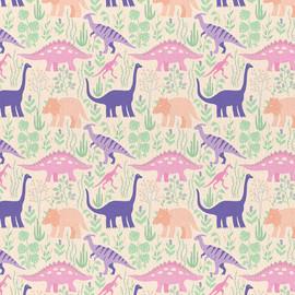 Peach Dinosaur fabrics design