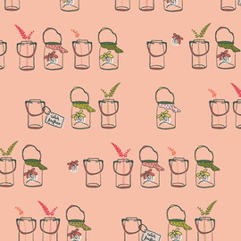 Pink Mason Jars o Bugs cotton fabrics design