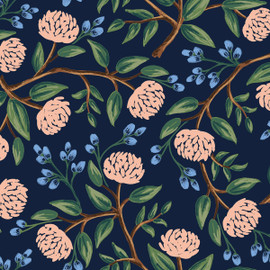Navy peonies fabric, Rifle Paper Co. Wildwood navy peonies, QTR YD