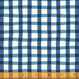 Blue gingham plaid fabric, Windham Fabrics A to Zoo quilt cotton