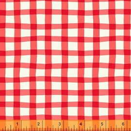 Red gingham plaid quilt cotton fabrics design