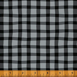 Black gray gingham plaid fabrics design