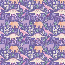 Purple Dinosaur cotton fabrics design