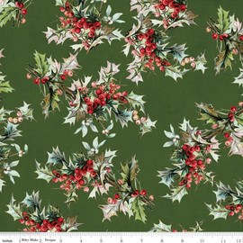 Green holly berry leaves Yuletide cotton Fabrics design