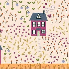 Peach bungalow house fabrics design