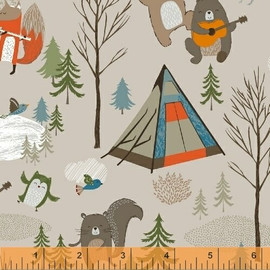 Khaki Forest animals Bear Camp quilt cotton fabrics design