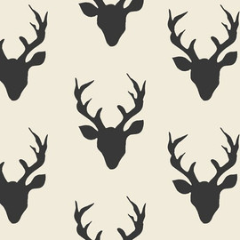 Deer Silhouette Buck Forest Night fabrics design
