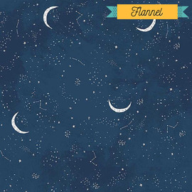 Dark night sky moon FLANNEL Fabrics design
