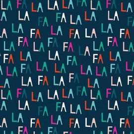Navy Fa La letters cotton Fabrics design