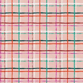 Pink Green Christmas plaid cotton Fabrics design