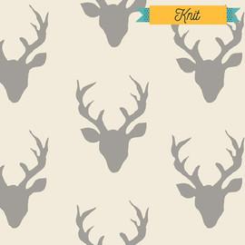 Deer silhouette KNIT Buck Forest Silver fabrics design