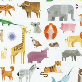 Modern A to Z animals cotton fabrics design