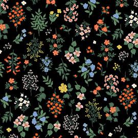 Strawberry Fields Black Hawthorne cotton fabrics design