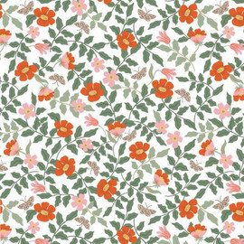 Strawberry Fields Ivory Primrose cotton fabrics design