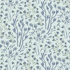 Blue Winter Frost floral fabrics design