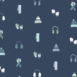 Blue Winter Hats Gloves fabrics design