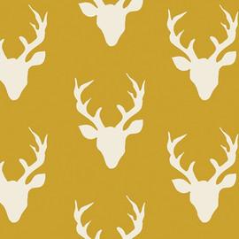 Deer Silhouette Buck Forest Mustard fabrics design