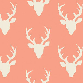 Deer Silhouette Buck Forest Coral fabrics design