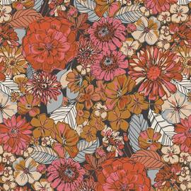Dark earth tone floral fabrics design