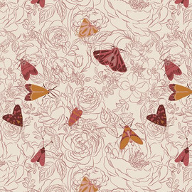 Butterfly Moth floral fabrics design