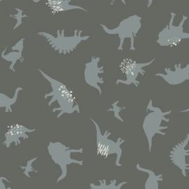 Gray Dinosaur fabric - AGF Esoterra Dinomania Subtle cotton QTR YD