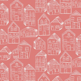 Pink Gingerbread House fabrics design