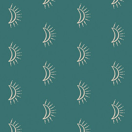 Turquoise Sunmoon cotton fabrics design