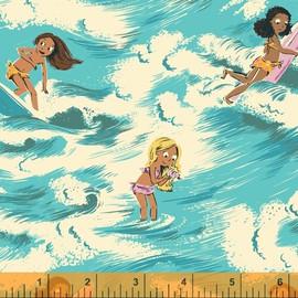 Surfer Girl Wave fabrics design