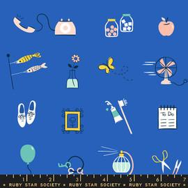 Blue Whatnot Stuff cotton fabrics design
