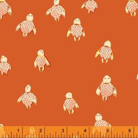 Orange sea turtles fabrics design