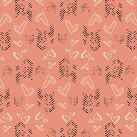 Blush Hearts Fletching cotton fabrics design