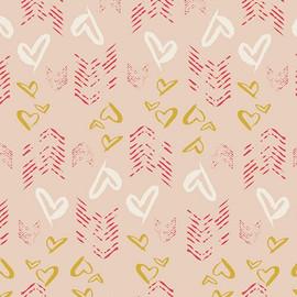 Gold Hearts Fletching cotton fabrics design