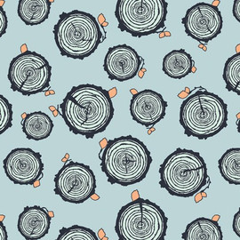 Blue Tree Trunks cotton fabrics design