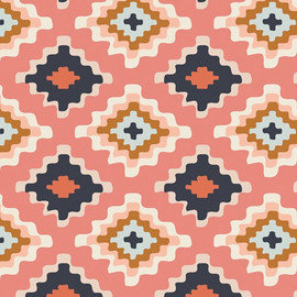 Pink Navy aztec cotton fabrics design