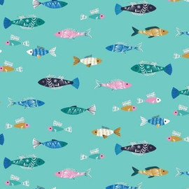 Fish in the sea cotton fabrics design