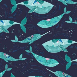 Dark blue whale cotton fabrics design