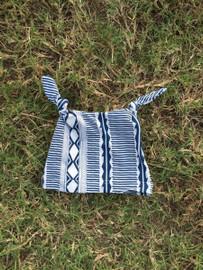 Navy Aztec Tie Knot Baby Hat
