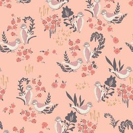 Pink bird Feathered Fellow Blush organics fabrics design
