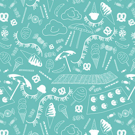 Beach Fabric Blue, Art Gallery Fabrics Busy Beach Teal cotton fabric, QTR YD