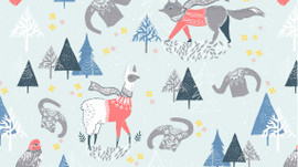 Woodland winter scene cotton fabric, Dear Stella Winterscape cotton, QTR YD