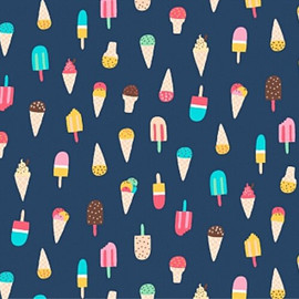 Navy Ice cream snow cone fabrics design