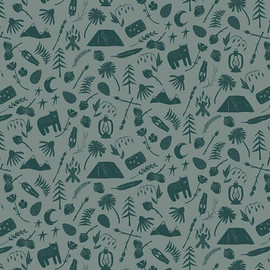 Camping Gear green cotton fabrics design