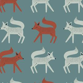 Sneaky Little Foxes cotton fabrics design