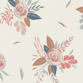 Autumn floral print fabric, Art Gallery Little Clementine cotton, QTR YD Yd