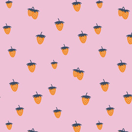 Pink strawberry  fabrics design
