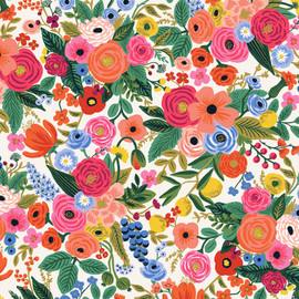 Rifle Paper Co floral fabric, Garden Party Petite cream Wildwood cotton, QTR YD